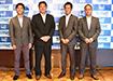 左から坂口球団社長(徳島)、武政球団社長(高知)、田室球団統括マネージャー(愛媛)、掘込球団代表(香川)